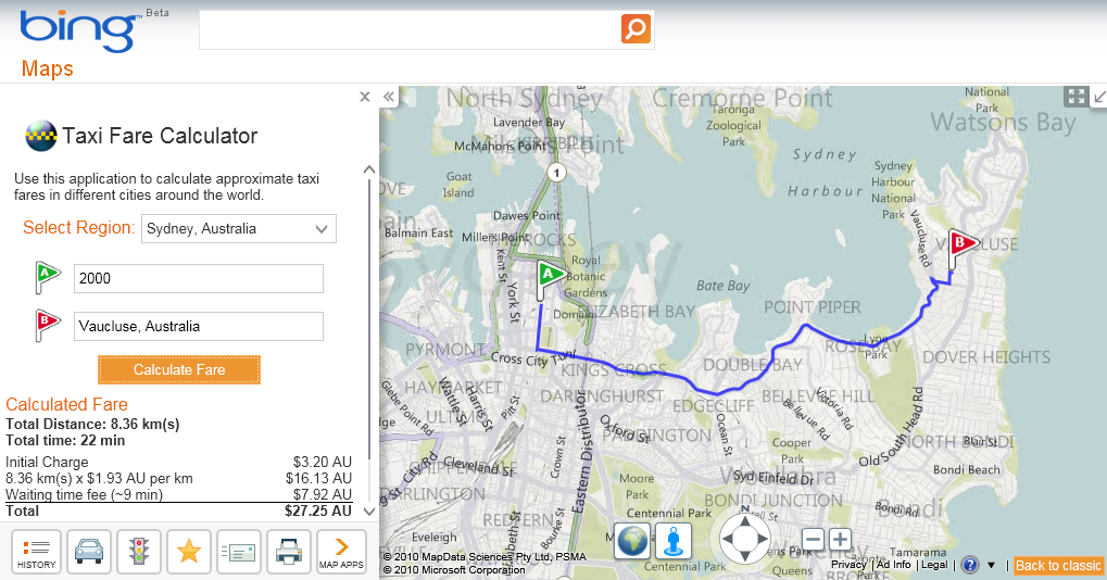 Bing Maps adds tool to estimate Taxi Fare for Sydney & Melbourne