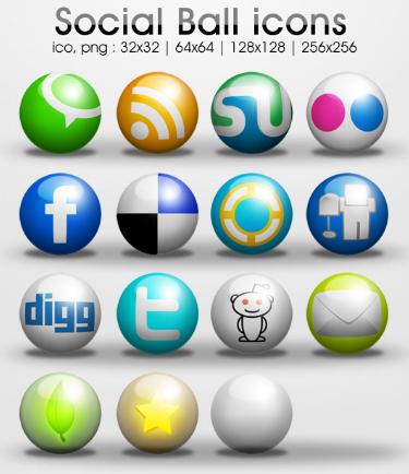 ball icons Social Media Icons