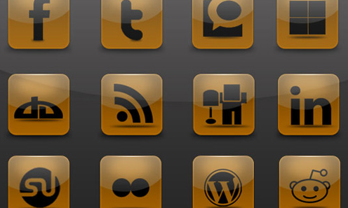 brown Social Media Icons