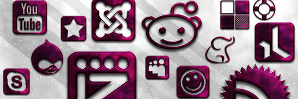 glossy purple icons Social Media Icons