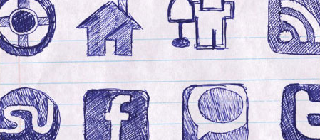 hand drawn blue pen Social Media Icons