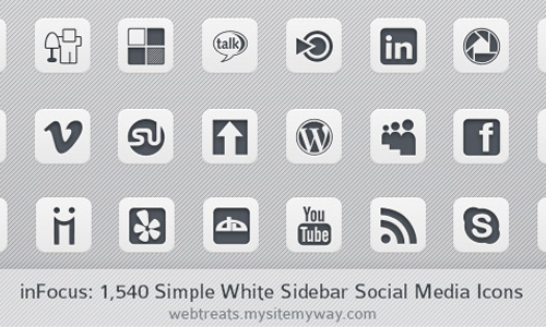 infocus black white Social Media Icons