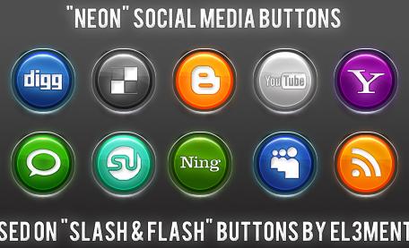 neon Social Media Icons