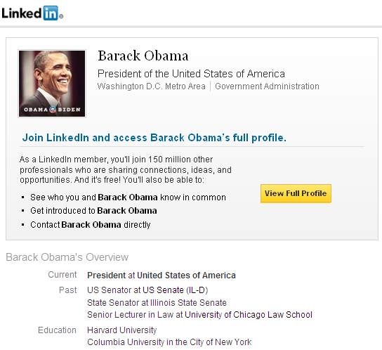 barack obama linkedin The Most Powerful Man in the World is on LinkedIn