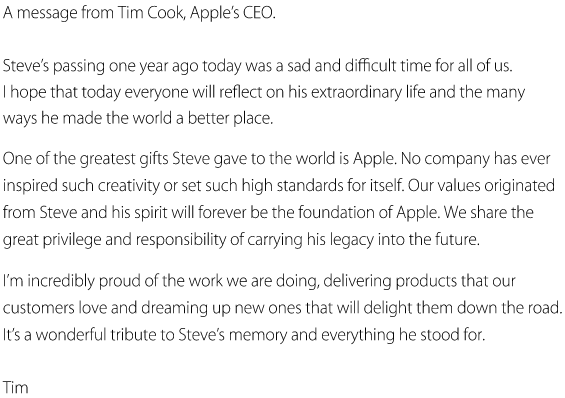 Tim cook Steve Jobs Apple Releases Inspirational Tribute Video to Steve Jobs