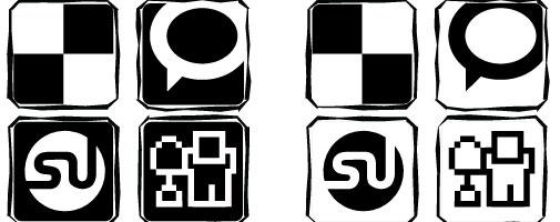 black white icons