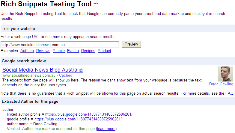 rich snippets rel author google plus