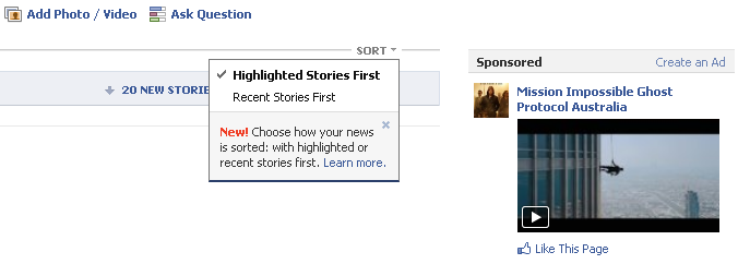 facebook newsfeed change