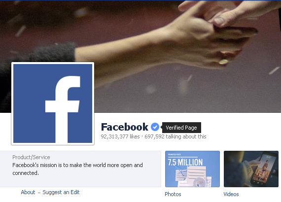 Facebook's own fanpage is now officially verified.