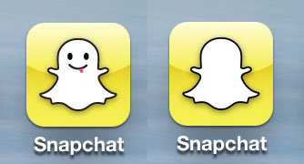 Old Snapchat iOS icon / New without facial features